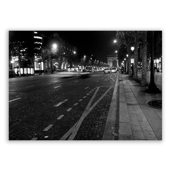 "Paris Photography, Paris Decor, Paris photos, streets of Paris, night - ""Champs Elysees"" - Fine Art Photograph B&W"