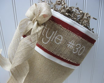 Red accented burlap stocking with personalization - Style #30