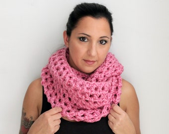 Bubble Gum Pink Crochet Chunky Oversized Infinity Scarf Cowl, Snood, Winter Accessories