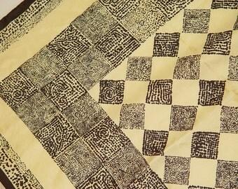 Silk Square Scarf- Tribal Ethnic Geo Print- Black Gold- 30 x 30 inch