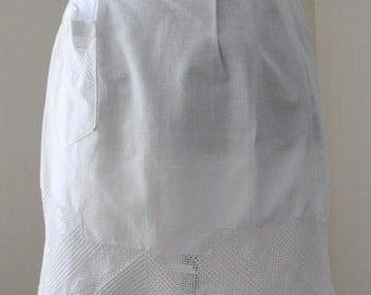 White Linen Apron with Filet Crochet Trim