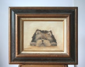 Vintage Dog Oil Portrait: Original Antique Art