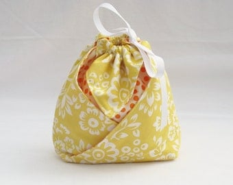 Origami Gift Bag -  Bright Yellow Flowers