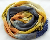 Handwoven Scarf Shawl - Superwash Merino & Tencel  Winter Scarf, Handmade, Wrap