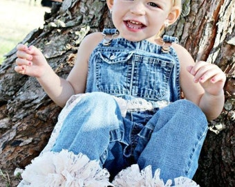 Girls Overalls with Lace Ruffle Bottom Legs - Includes Matching Headband