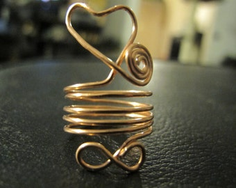Wire wrapped ring infinity heart silver or copper, can be made in any size