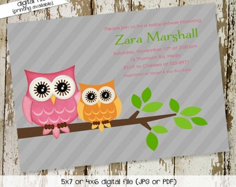 owl baby shower invitations with owl, digital, printable file (item 1442) baby shower invite