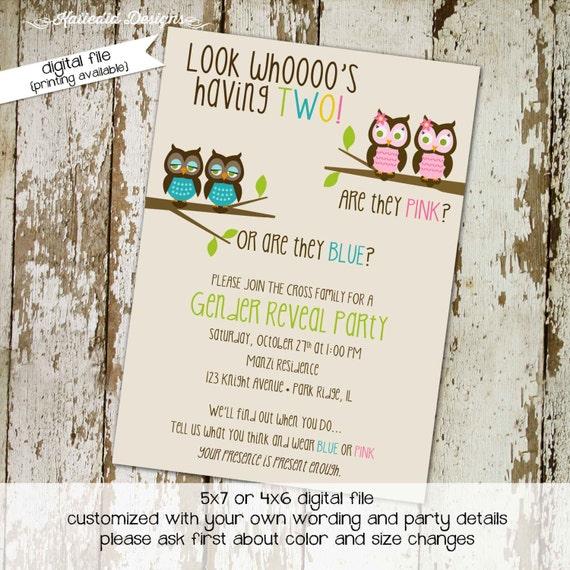 owl baby shower invitation surprise gender reveal diaper wipe brunch co-ed two moms baby shower pink or blue reveal 1513 Katiedid Designs