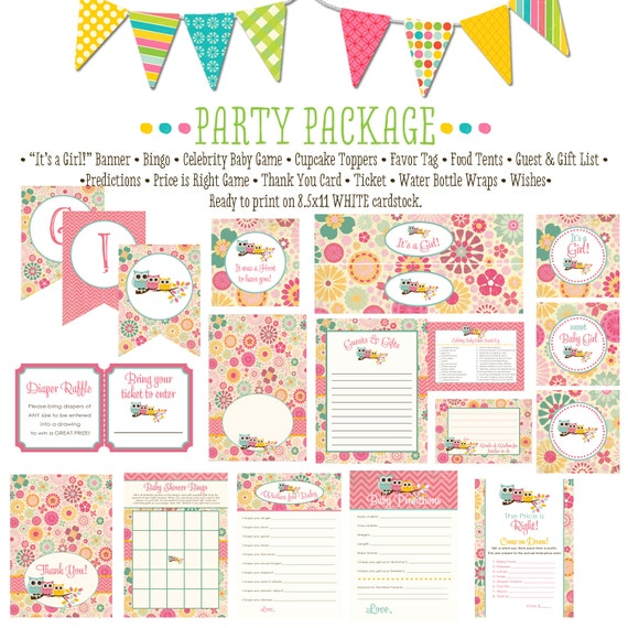 owl baby shower party package item 1352 package AS IS Matching games ticket banner bingo thank you card, water bottle wraps, cupcake toppers