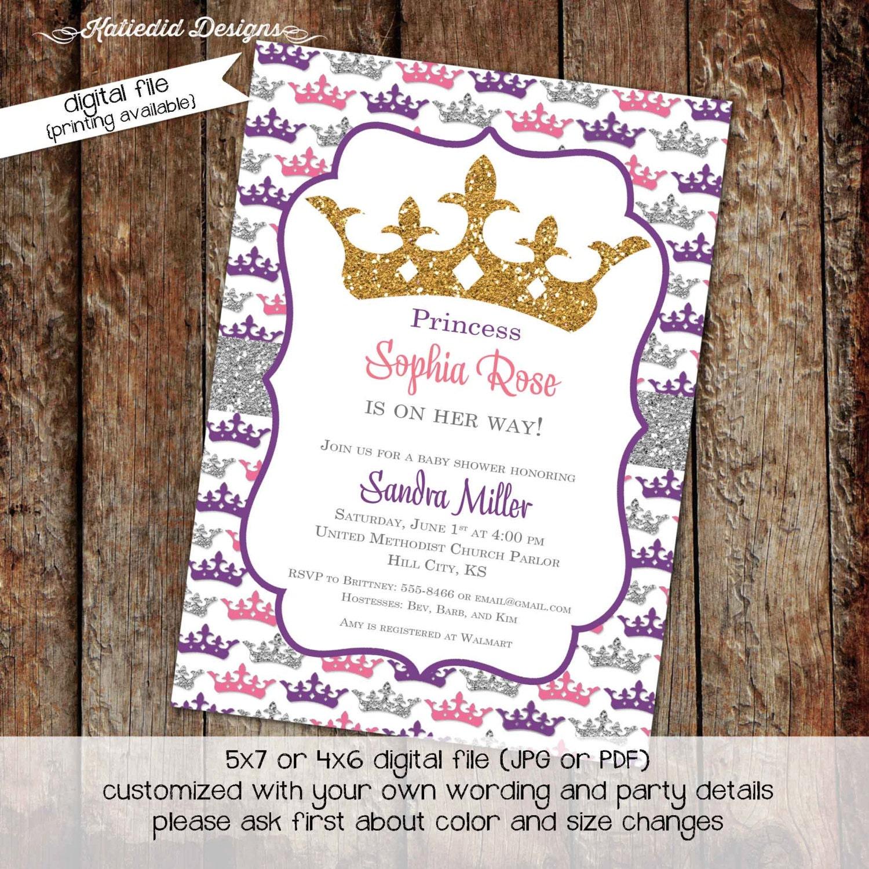 little princess baby shower invitation rustic baby girl shower ...