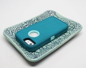Lace Textured Blue Stoneware Jewelry or Catch-All Tray, Phone Rest, Sushi Plate, Sponge Dish or Favorite Sandwich Plate