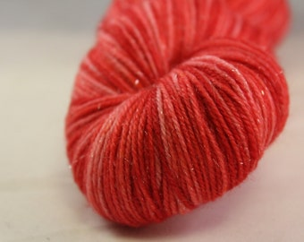 Red Hand Dyed Sparkle Sock Yarn