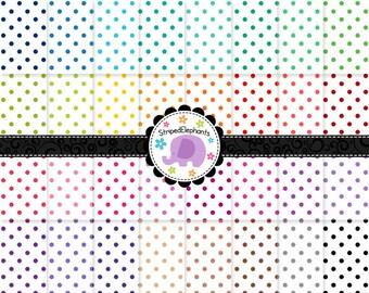Polka Dot Digital Paper Pack 2, Polka Dot Digital Scrapbook Paper, Dotty Digital Background, Instant Download, Commercial Use