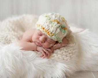 NEW Yarn List-Newborn Hat PATTERN, Amelia Knitting Pattern, For Photo Prop, Made With Super Bulky Handspun Art Yarn-Newborn-6 Months-New