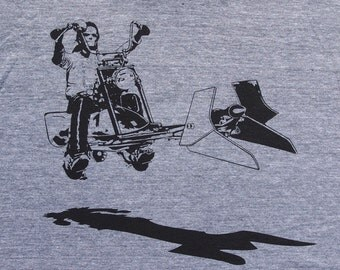 Star Wars easy rider speeder bike on mens t shirt- american apparel atheltic gray available in S,M, L ,XL, XXL- WorldWide shipping