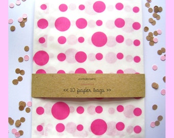 Candy Polka Dot Paper Bags - Set of 10 - Hot Pink - Glassine Paper Bags