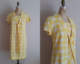 Vintage 1960s Yellow Sailor Dress / Rayon Dress / Elinor Porter / Medium / Large
