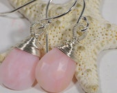 Peruvian Pink Opal Earrings Drop Earrings Beaded Earrings Wire Wrapped Sterling Silver Earrings