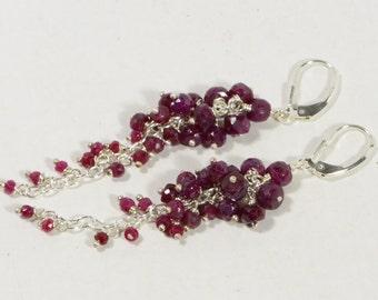 Ruby Earrings Long Chandelier Earrings Natural Ruby Earrings Dangle Sterling silver Jewelry Birthstone Jewelry, Sapphire September