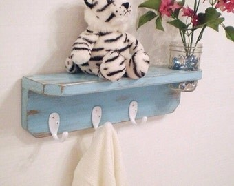 Shabby Chic shelf with hooks, Distressed Primitive Wooden Wall Shelf with vase & 3 White Hooks in Turquoise
