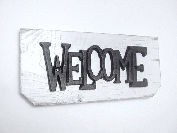 Rustic Cottage WELCOME sign on distressed wooden hanger, Shabby Chic Country Cottage Decor, French Country Housewarming Gift