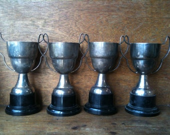 Vintage English Trophy Cups Set of 4 Not Engraved Blank circa 1950's / English Shop
