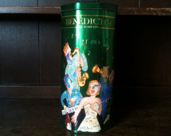 Vintage French Liqueur Large Tin Pasta Spaghetti Canister circa 1980's / English Shop