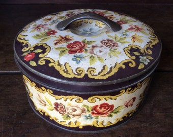 Vintage French tapestry pattern round tin box with handle storage kitchen biscuit sweet confectionary circa 1950's / English Shop