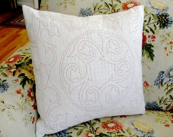 Quilted Pillow Cover White and Red Sashiko Hand Quilted Look