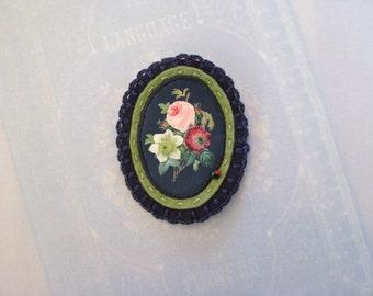 blue and green flower pin brooch - flower broach -  blue felt brooch - botanical victorian print - felt brooch - gift for her