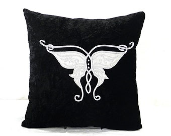 Silver butterfly princess crown embroidered on black velvet pillow cover art gothic modern home decor steampunk style cushion cover gift