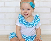 Turquoise Baby Headband Flower Rose Rosette on Skinny Elastic