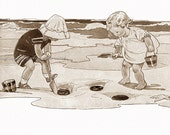 Beach Magnet - Kids Dig in The Sand Fridge Magnet