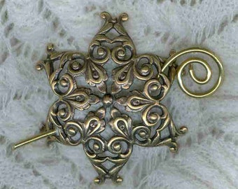 Snowflake Shawl Pin, Brass Shawl pin, Scarf Pin, Fibula, Sweater Pin