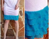 SALE Slip Extender: Turquoise Tiered Ruffle Avail in black, cream, yellow, purple, bright pink, white, navy, chocolate brown, and camel.