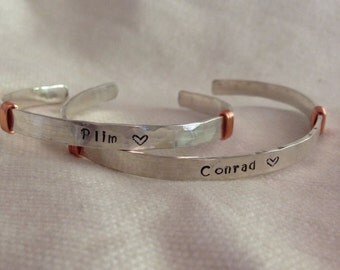 His Hers Sterling Silver Personalized Cuff Bracelets. Custom. Couples. TWO Bracelets. The Bleu Giraffe on Etsy.  Recycled Silver.
