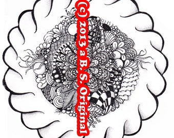 Hand Drawn Zentangle Inspired Flat Note Cards #06
