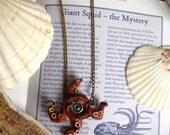 OOAK Handmade Steampunk Orange Necklace Squid