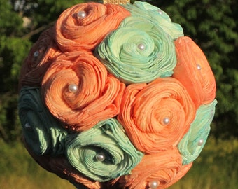 Peach and Mint sola flower kissing ball - centerpieces or flower girl ball
