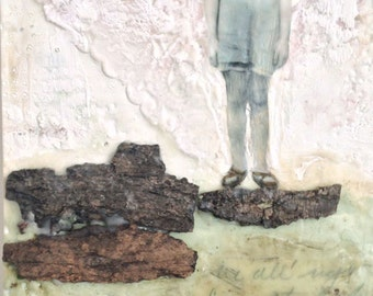 "Encaustic Art, Encaustic Painting:  Original Mixed Media Painting - ""HOME"" Poetic Nature Art with Real Tree Bark"