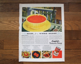 Vintage McCall's August 1937  Palmolive Soap Ad/ Campbell's Tomato Soup Ad