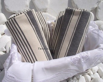 Turkishtowel-Set of 2-Hand woven,20/2 cotton warp and weft Turkish Bath,Beach Towel-Natural cream and Black
