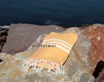 Turkishtowel-Hand woven,20/2 cotton warp and weft ,Herrigbone Turkish Bath,Beach Towel-Pale Orange and cream stripes