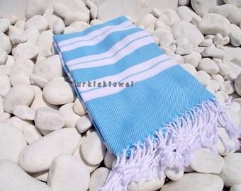 Turkishtowel-2014 Summer Collection-Hand woven,20/2 cotton warp and weft,Turkish Bath,Beach,Fouta Towel- Turquoise White