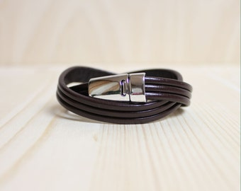 Three Lined Double Leather Wrap Bracelet(Dark Brown)