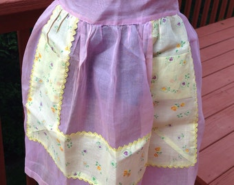 Vintage sheer purple or lavender apron, 1960s hostess half apron, Sheer sparkly apron, Dressy party apron
