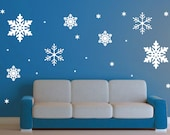 Snowflake Wall Decal set - 23 snowflakes -  Delicate Frozen Winter Wall Art- Children Nursery Fairytale Make Believe Christmas Holidays Fall