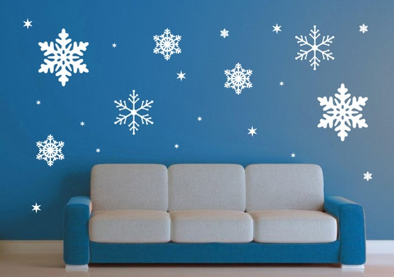 Exceptionnel Glitter Snowflakes Peel U0026 Stick Wall DecalsBUY NOW Snowflakes U0026 Stars 700  Decals SetBUY NOW Large ...