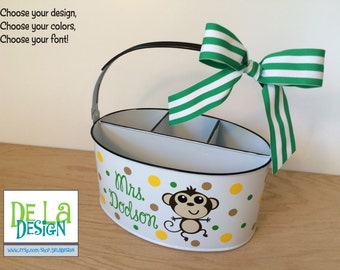 Personalized Desk organizer or Utensil holder, oval metal bucket, caddy, Monkey, Owl or other design, teacher gift, baby gift