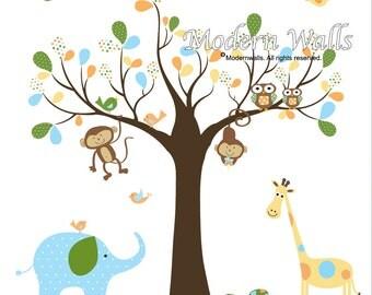 Jungle Vinyl Wall Decal Safari Set with Monkeys,Elephant Nursery Tree Wall Decals
